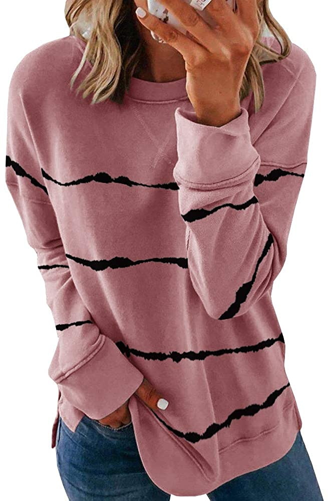 Womens Casual Striped Sweatshirts Thermal Crewneck Long Sleeve T-Shirts Loose Comfy Tunic Tops