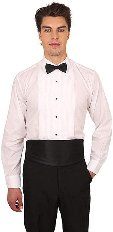 Men's White Laydown Collar 1/4 in. Pleat Tuxedo Shirt and Bow Tie Set