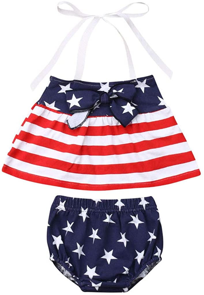 2PCS Clothing Sets for Toddler Infant Baby Girls Star Stripe Dress Shorts Outfits Set for Baby Girls Independence Day