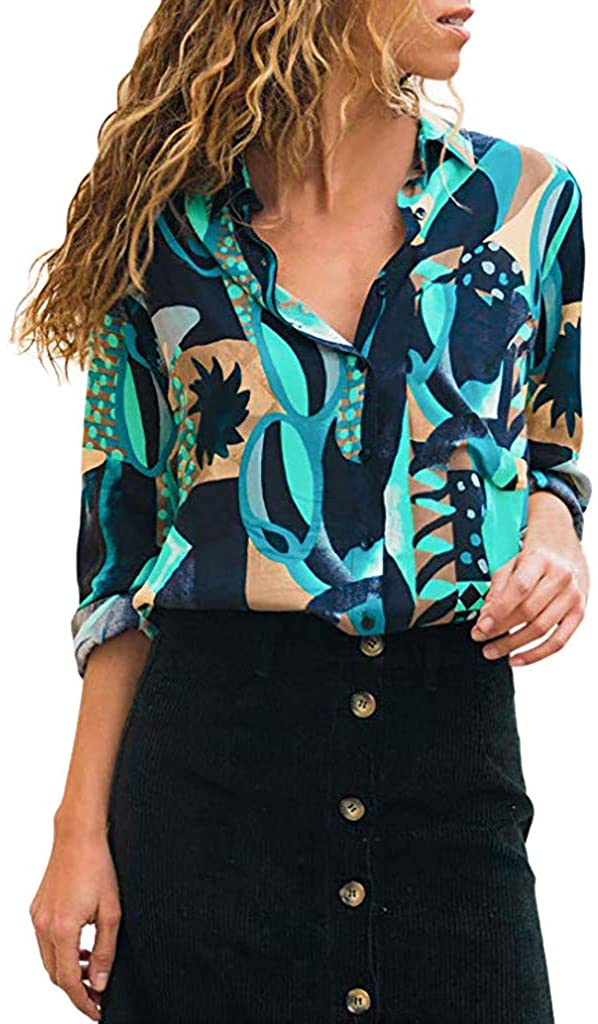 Adeliber V-Neck Floral Button Long Sleeves, Women's T-Shirt Casual Shirt top