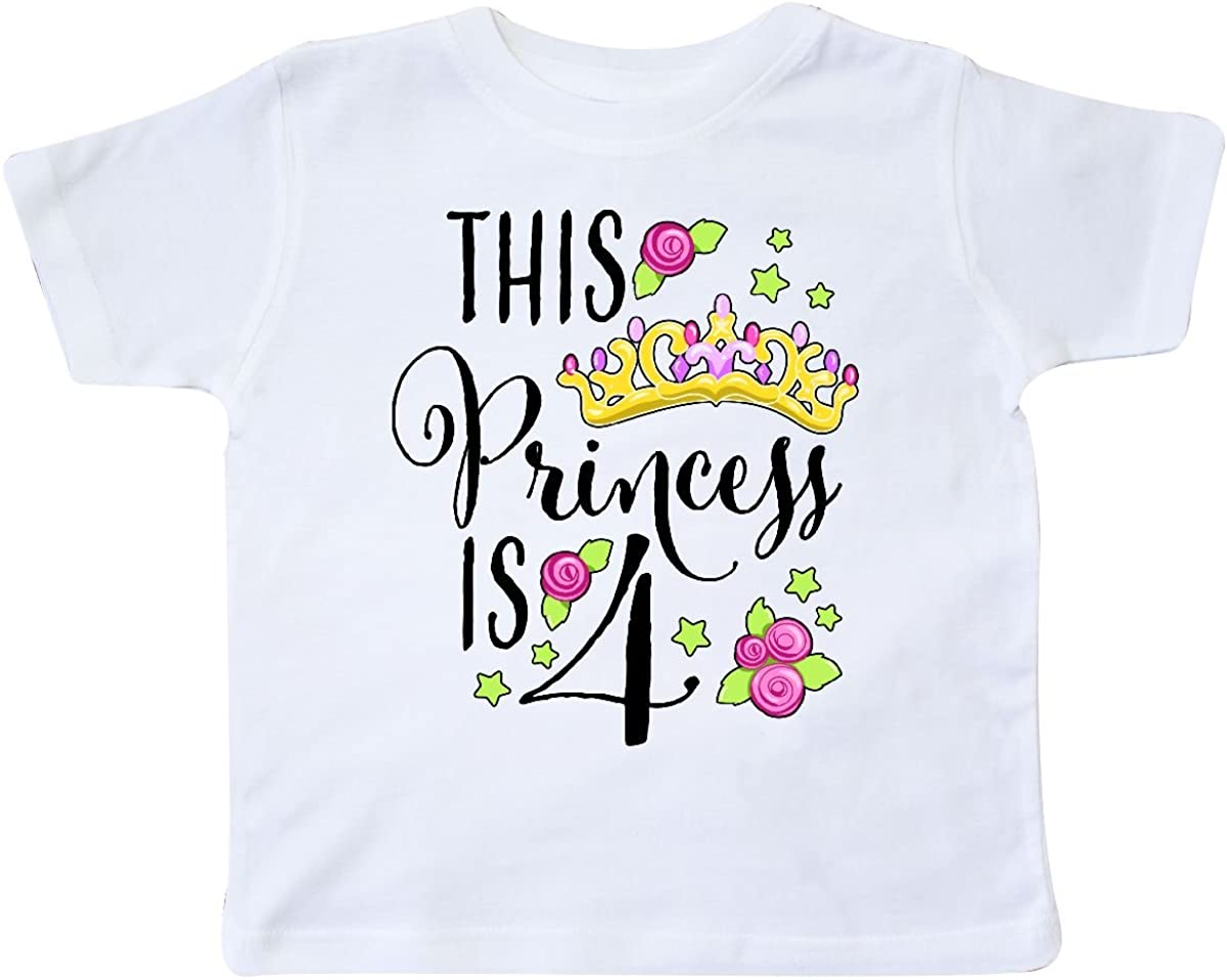 inktastic This Princess is Four- 4th Birthday Toddler T-Shirt