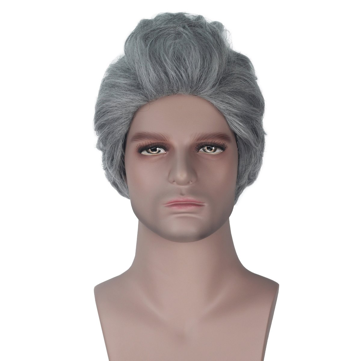 Miss U Hair Men Synthetic 30cm Short Wave Silver Grey Color Movie Cosplay Costume Wig for Halloween