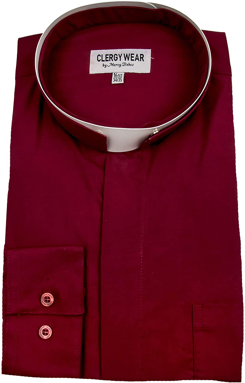 Mercy Robes Mens Long Sleeves Roma Tonsure Collar Clergy Shirt (Burgundy)