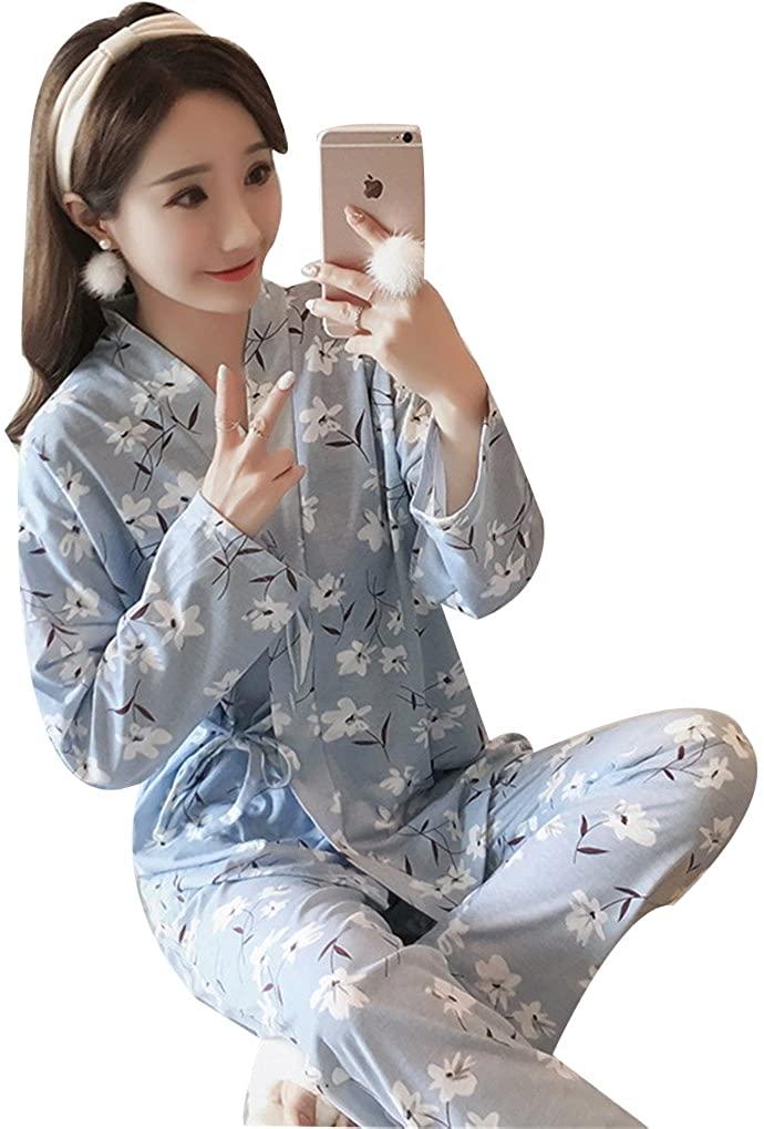 Naughtyspicy Women's Sleepwear, Nightwear Lounge Sets,Long and Short Sleeve Japanese Style Cotton Quilting Pajama Set