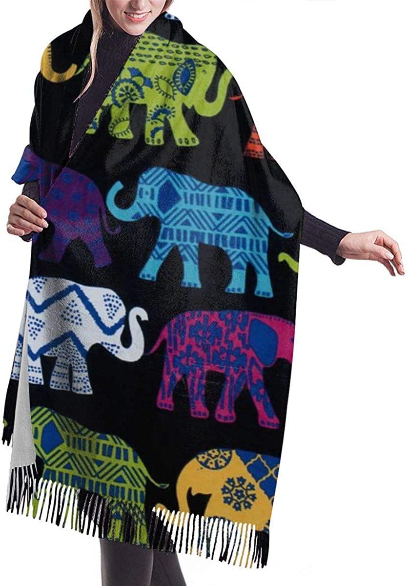 Black Elephants Women's Winter Warm Scarf Fashion Long Large Soft Cashmere Shawl Wrap Scarves