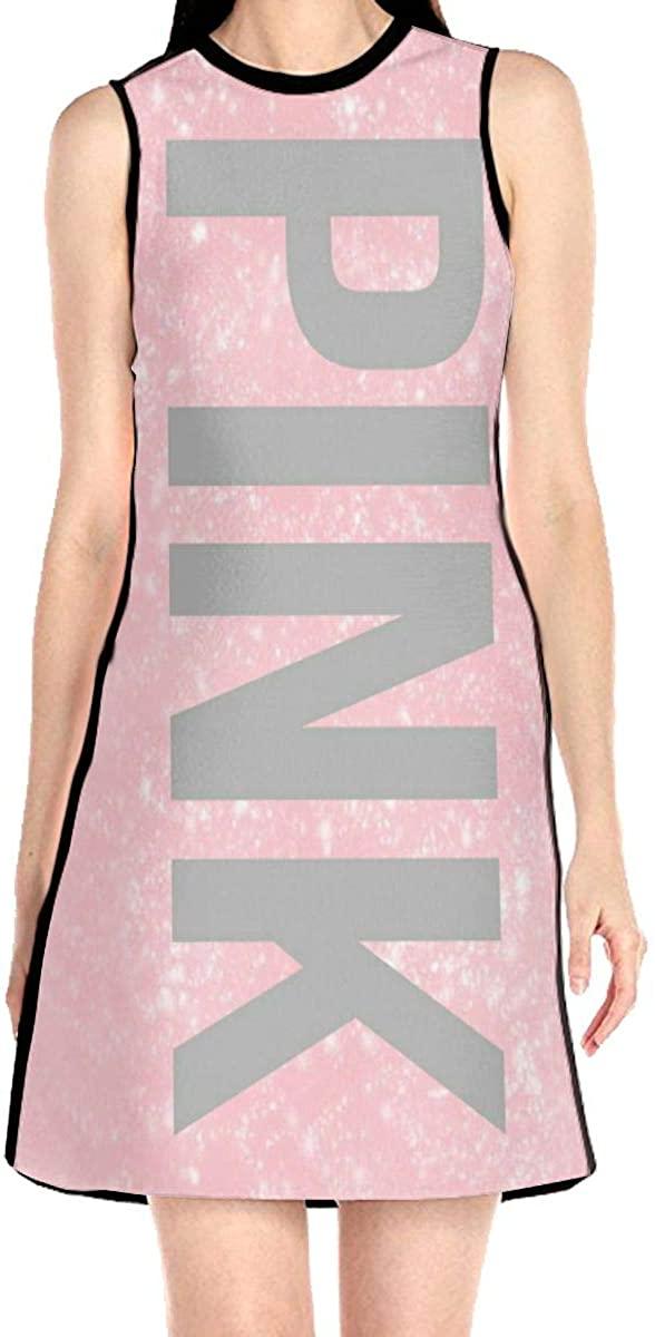 Pink Women's Sleeveless Dress Casual Slim A-Line Dress Tank Dresses