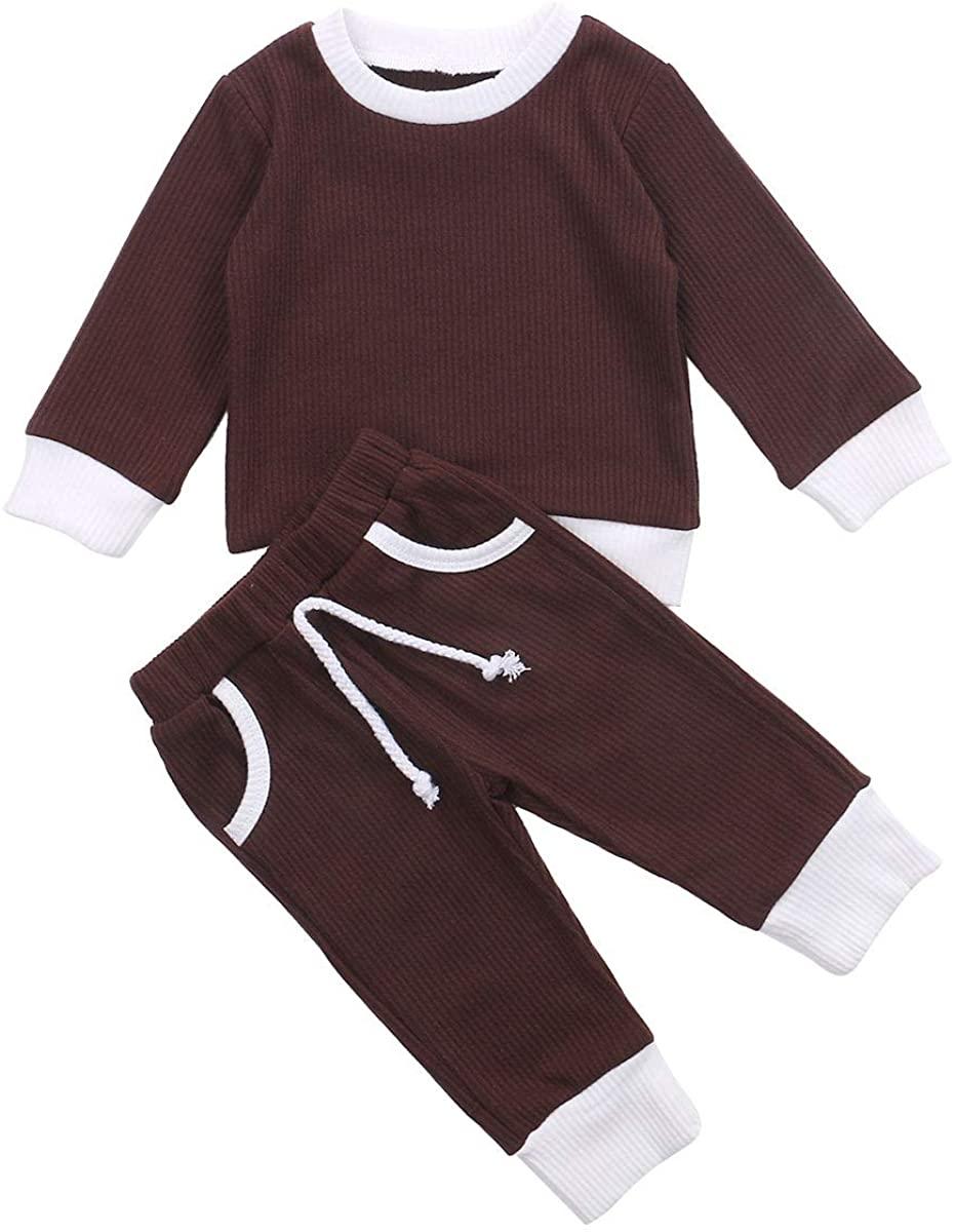 Toddler Baby Girl Boy Fall Knit Outfit Long Sleeve Shirt Tops+Drawstring Pants Solid Color 2PCs Ribbed Clothes Set