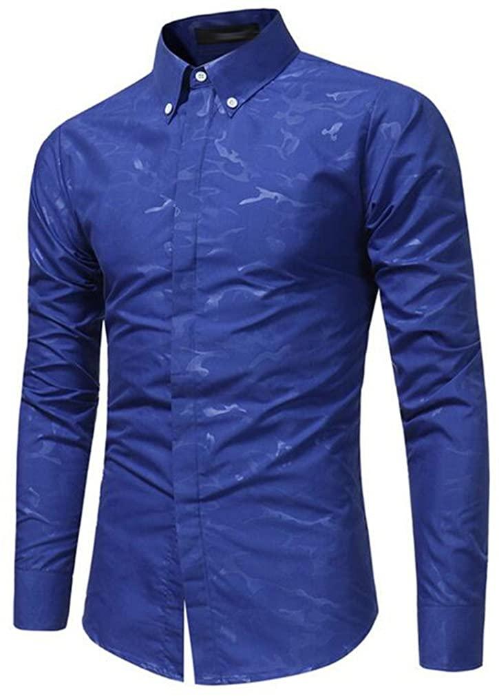 Cafuny Mens Long Sleeve Casual Camo Prints Button Down Dress Shirt