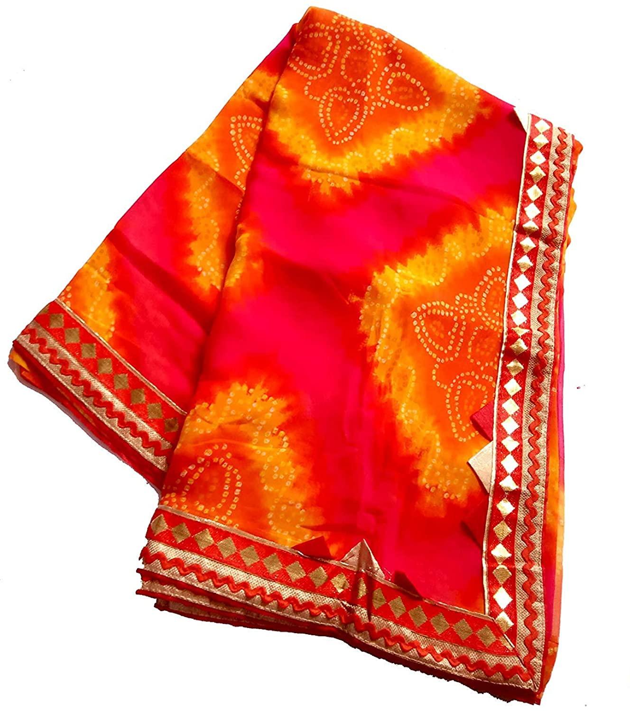 Kanha Women Georgette Traditional Rajasthani Pattern Bandhani Saree Fancy Bandhej