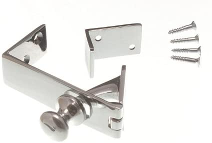 COUNTER FLAP CATCH/LATCH STAY CHROMED HEAVY DUTY + SCREWS