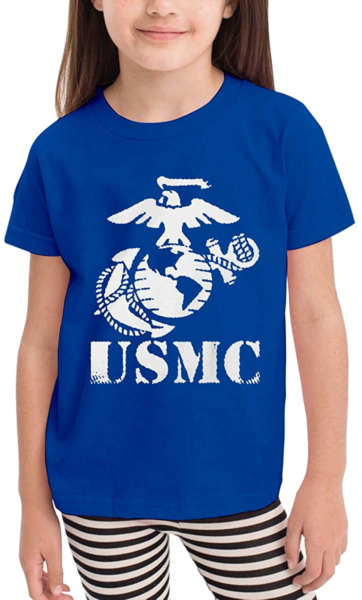 Patricia FordT 6-24 Month Baby T-Shirt Loose Self-Cultivation 2-6 Year Old Children's T-Shirt The USMC Marine Corps Logo Blue