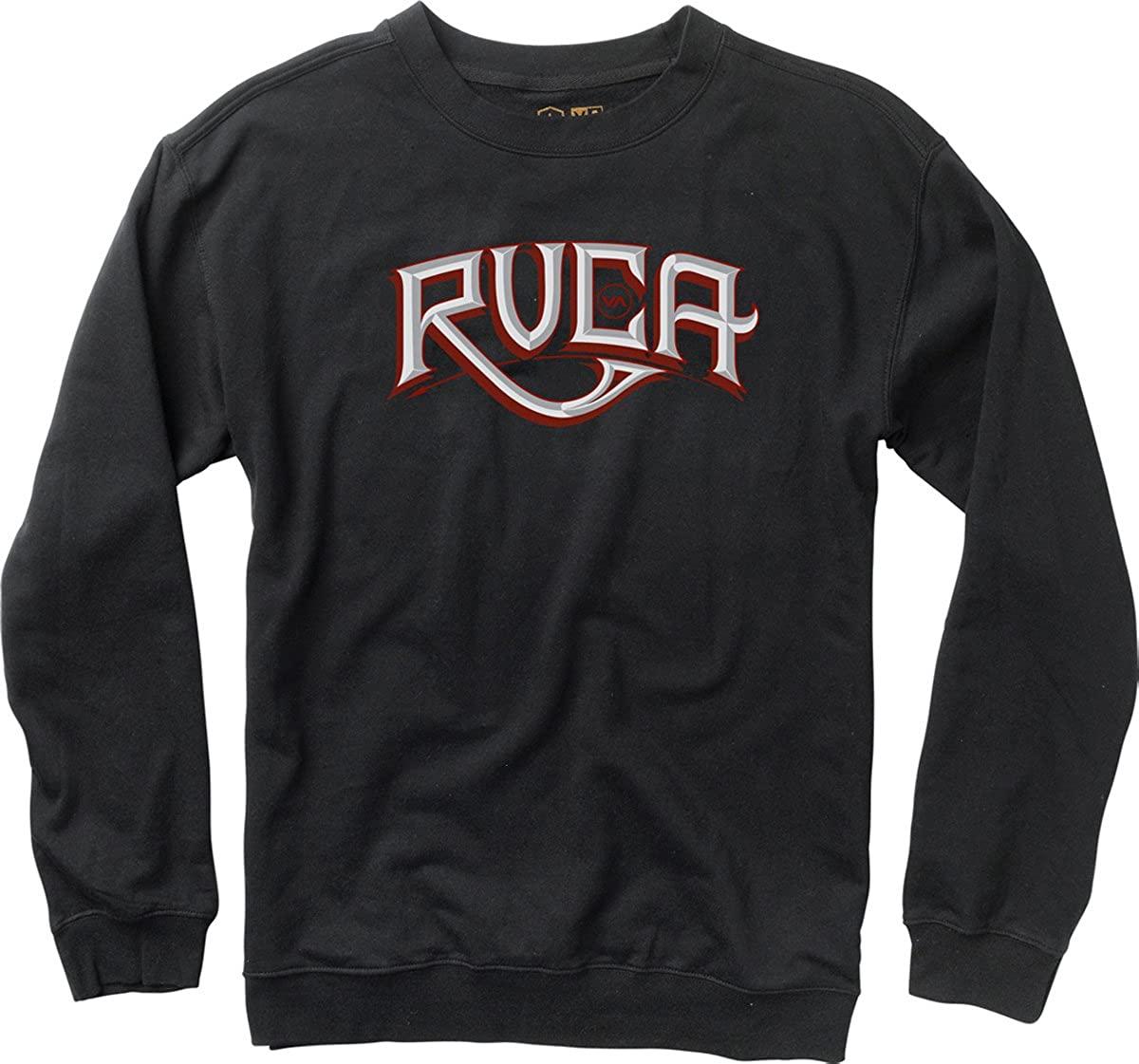 RVCA Carve Black Red Gray White Screenprint Pullover Crewneck Men's Sweatshirt