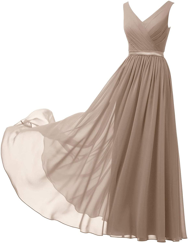 Alicepub V-Neck Chiffon Bridesmaid Dresses Long Party Evening Formal Dress for Women Sleeveless