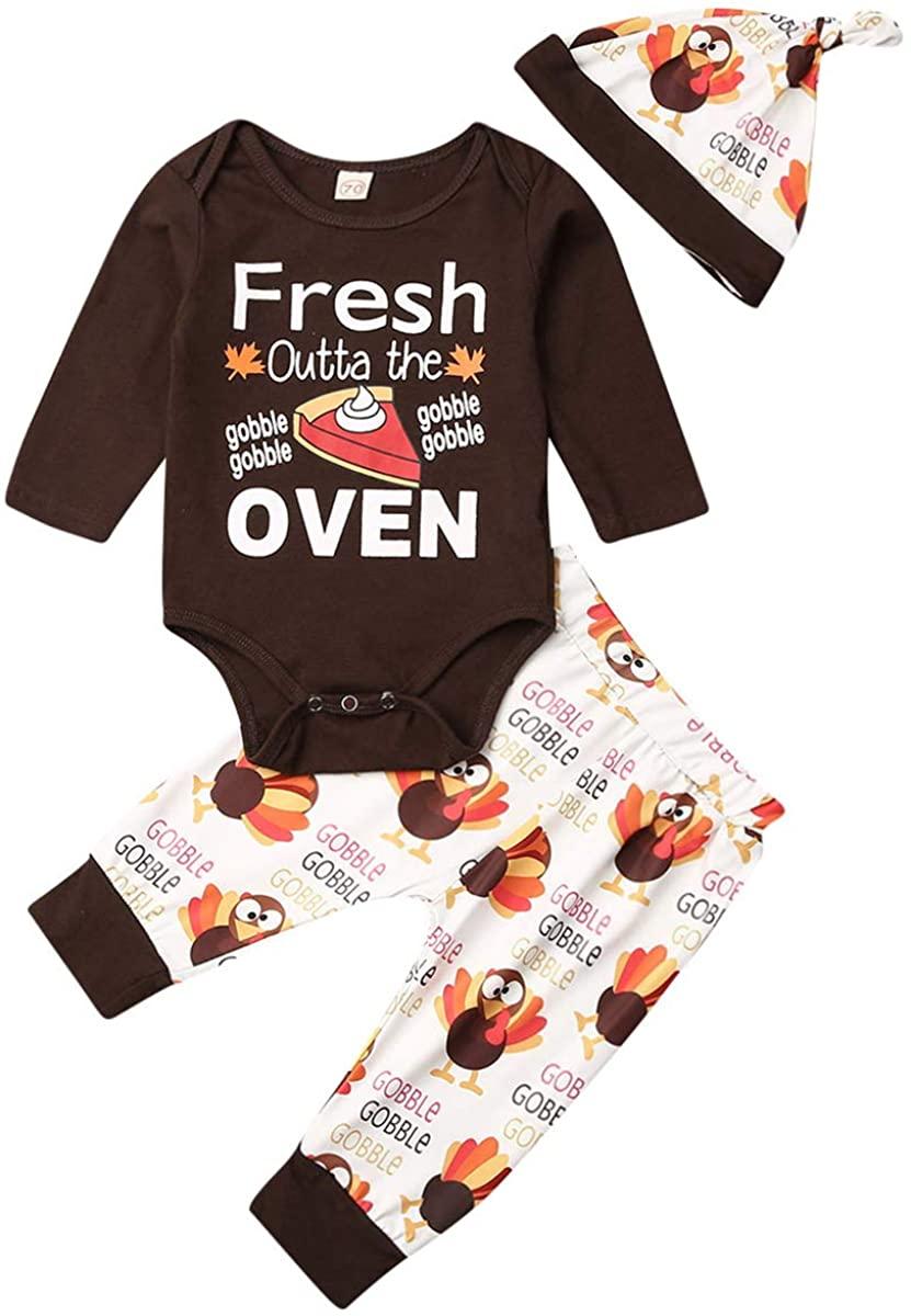 Newborn Infant Baby Boy Girl Thanksgiving Outfits Letter Print Bodysuit Tops +Turkey Pants Hat Clothes Set
