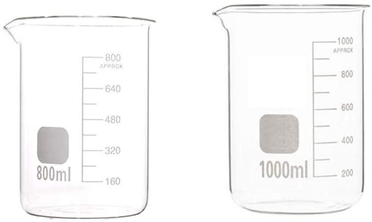 LBWT Glass Beaker with Scale, Measuring Tools, Chemical Thickened Beaker, High Temperature Resistance, Experiment Equipment, 800ml/1000ml High Capacity