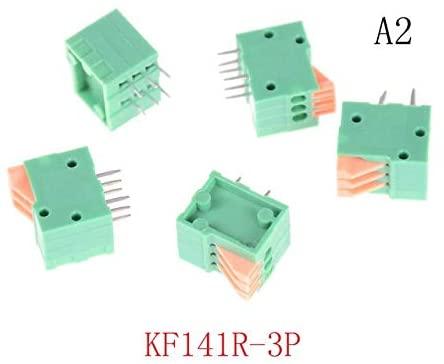 Davitu Terminals - Spring Screless Copper Terminal Block Bent foot 5PCS Green 2/3/4/5/6/7/8/9/10P KF141R KF141V 2.54mm Pitch PCB Connectors - (Color: 2)