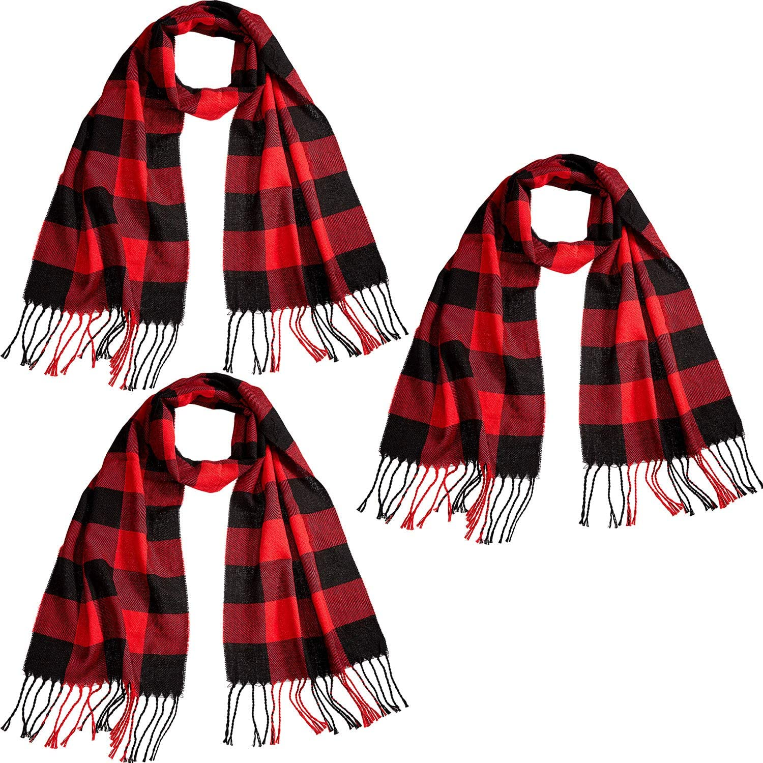 3 Pieces Faux Cashmere Feel Winter Plaid Scarf Warm Shawls Scarves for Men and Women