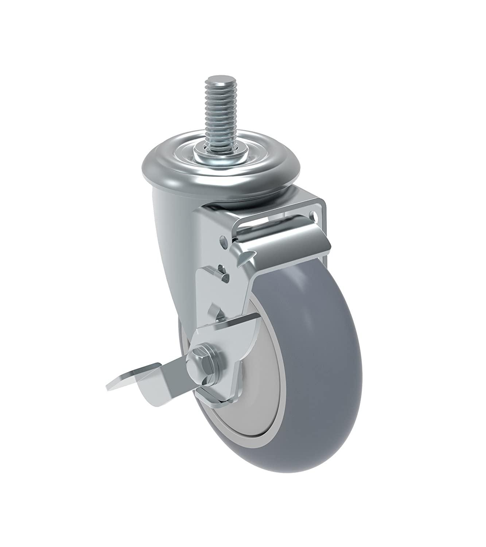 Schioppa GLEEF 412 BPE SL L12 Series 4 x 1-1/4 Diameter Swivel Caster with Wheel Lock Brake, Non-Marking Thermoplastic PVC Precision Ball Bearing Wheel, 3/8 Diameter x 1-1/2 Length Threaded Stem, 175 lb