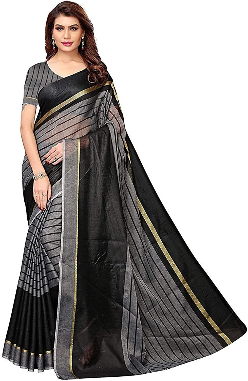 Indian Decor & Attire Black Printed Art Silk Saree with Blouse Unstitched