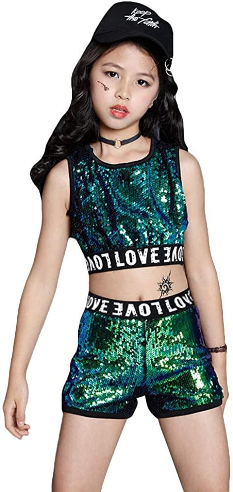 Girls Sequins Costume Dance Outfits Kids Hip Hop Clothes 2-Piece Crop Tops Shorts Set