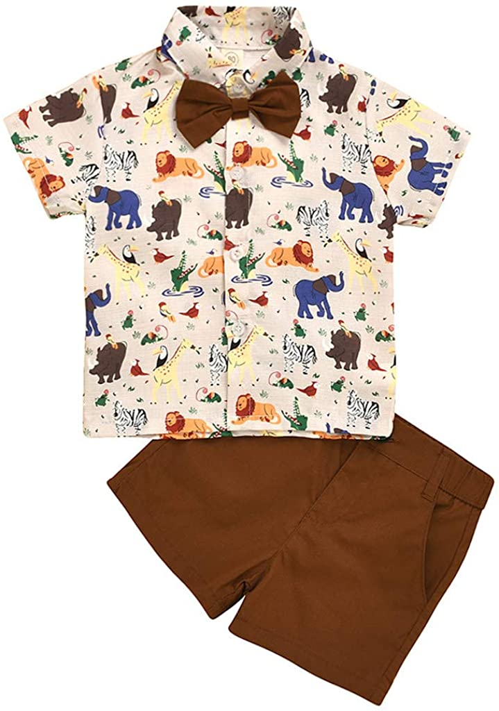 Toddler Baby Boys Character Shirt Top Solid Shorts Gentlement Outfit Kids Summer Clothing Sets 1-5 Years