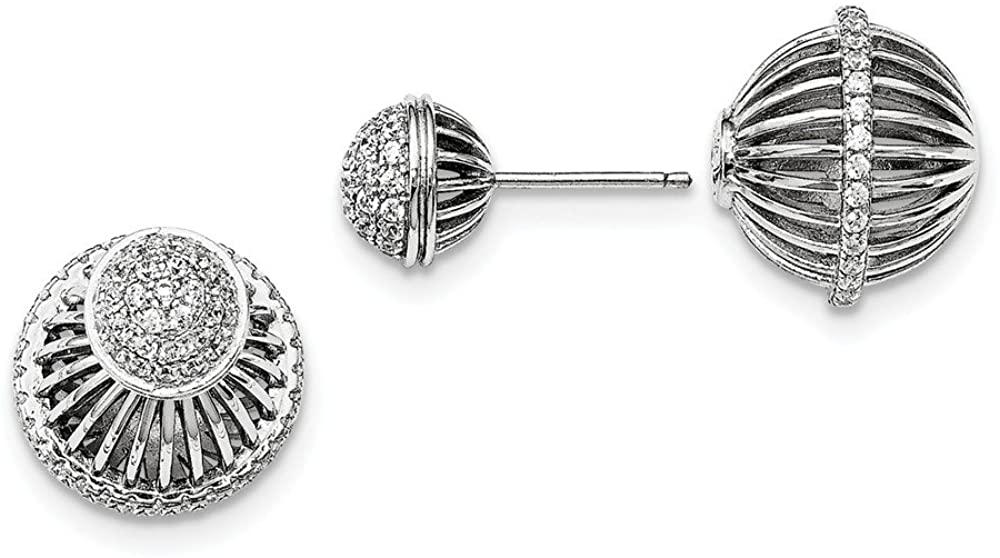 Solid 925 Sterling Silver & CZ Cubic Zirconia Earrings