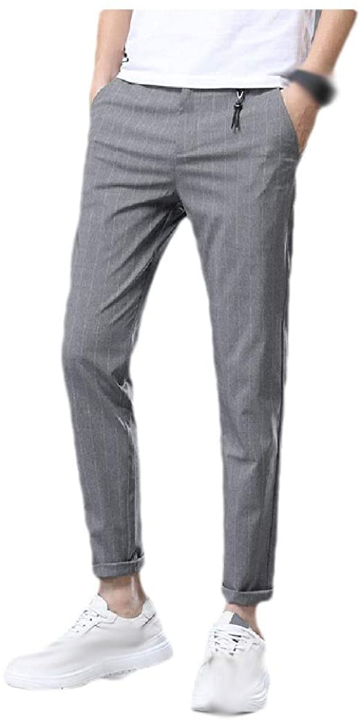 Doufine Men Casual Loose Striped Straight Leg Business Dress Pant with Pockets