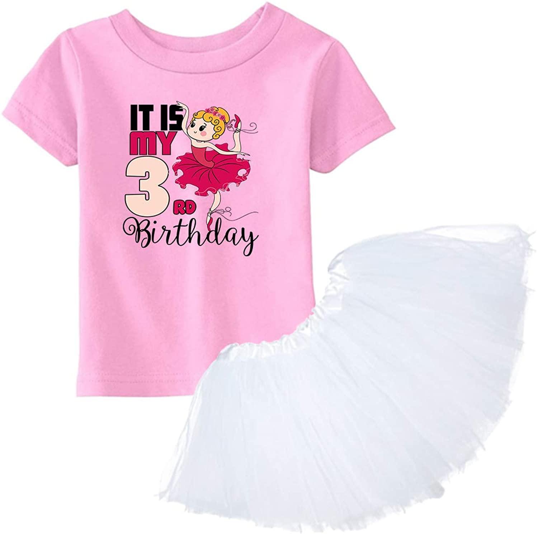 Awkward Styles 3rd Birthday Shirt Ballerina Tutu Skirt Set B-Day Girl Dress Ballet Outfit