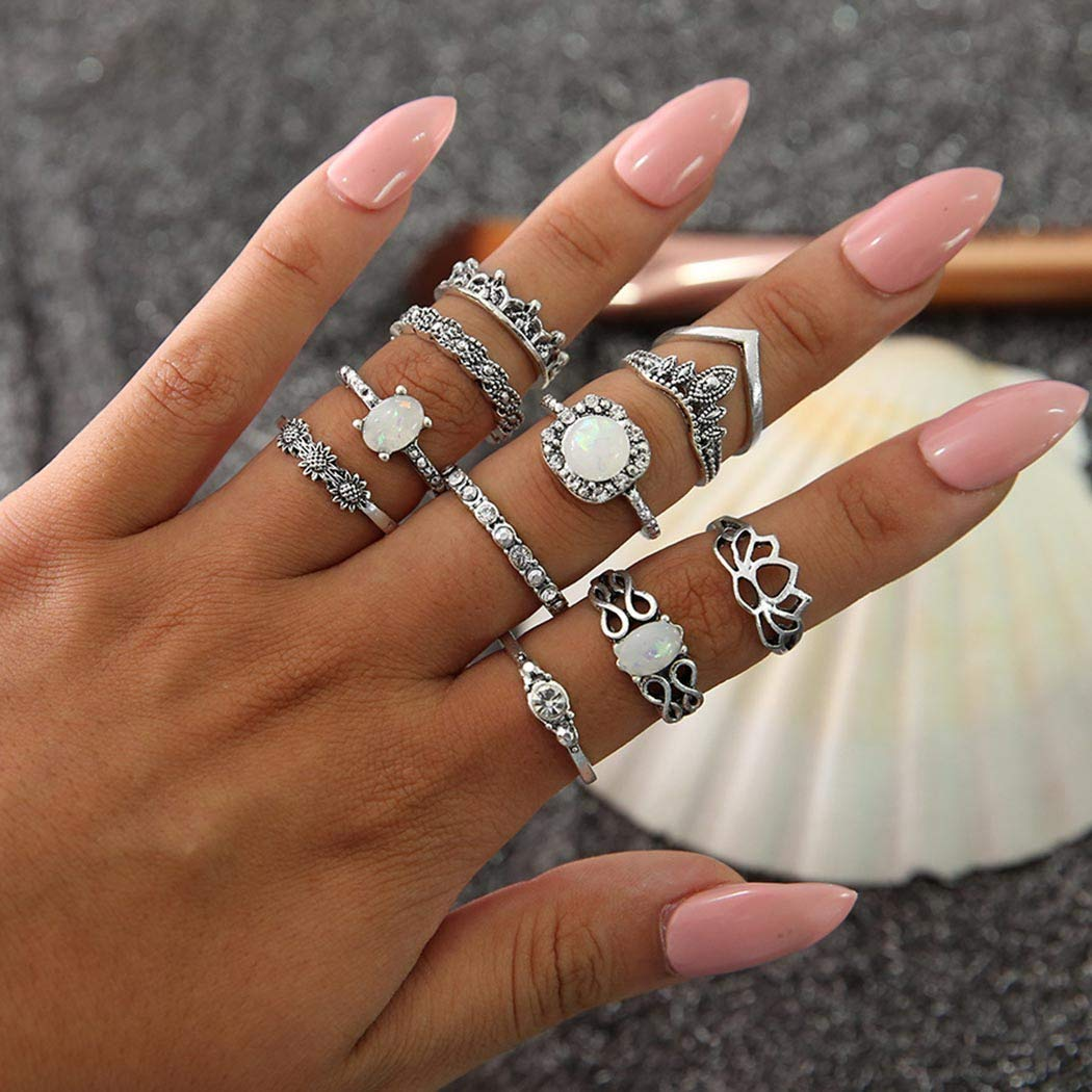 Nicute Boho Stackable Joint Knuckle Ring Silver Rhinestone Vintage Carving Finger Rings Set for Women and Girls(11 Pieces)