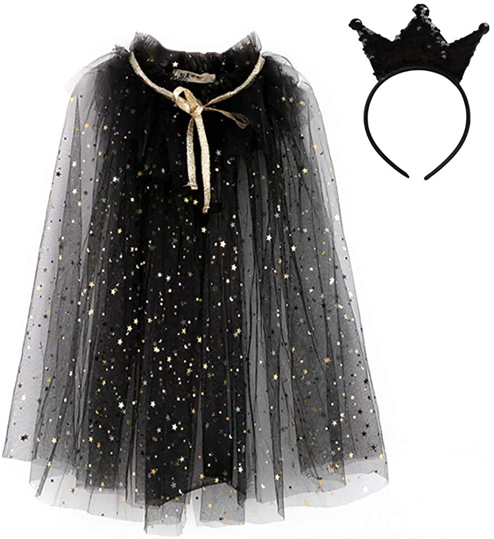 D.Q.Z Kids Fairy Wings Costume for Girls Princess Cape with Headband Halloween Dress Up