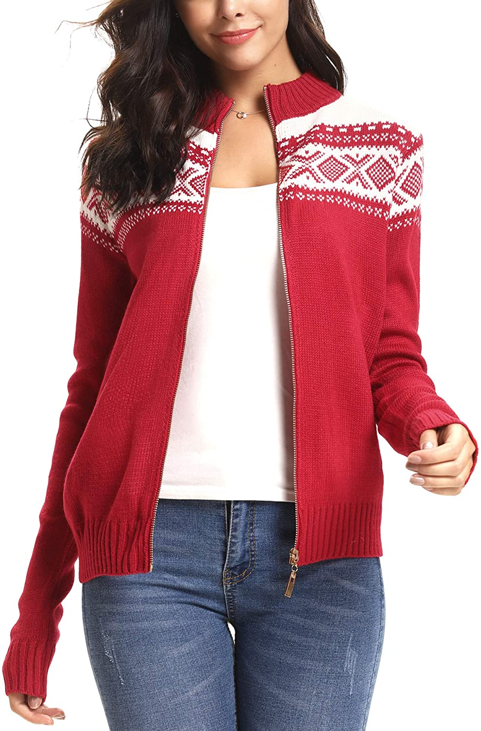 Sykooria Women's Ugly Christmas Knit Sweaters Full Zipper Stand Collar Open Front Xmas Cardigan Sweaters