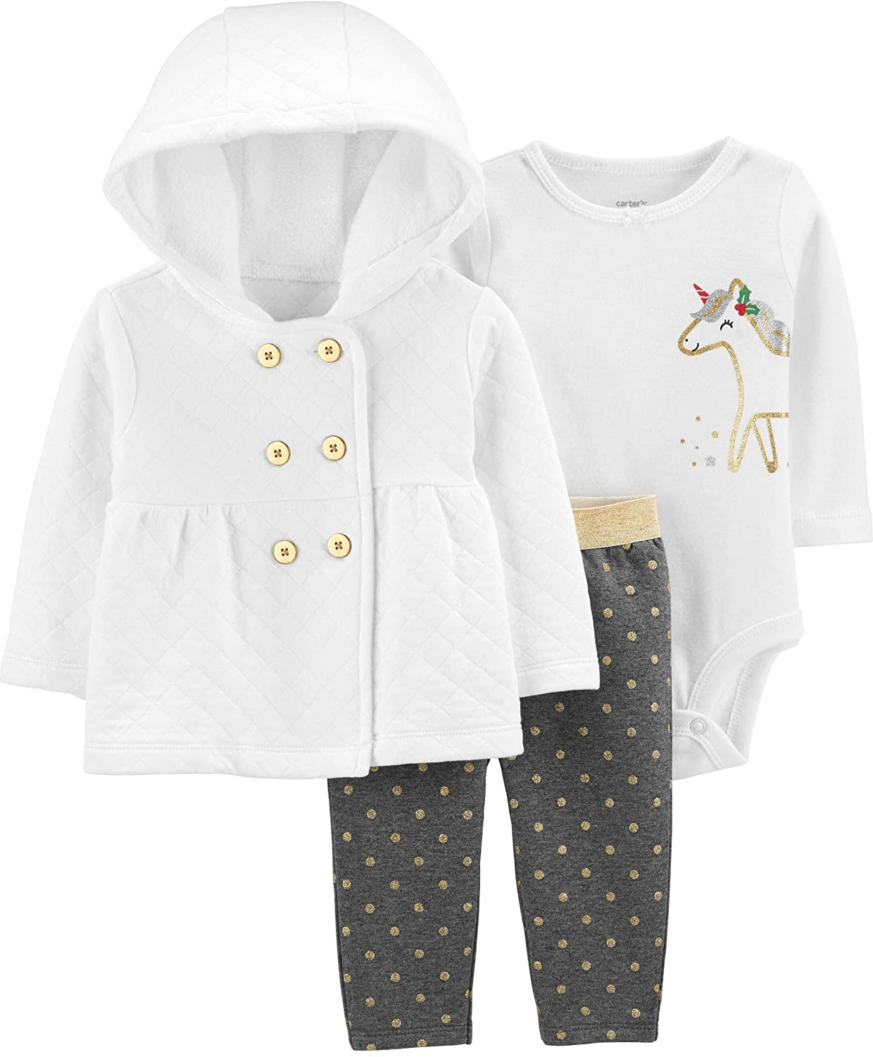 Carter's Baby Girls' 3-Piece Cardigan Sets (9 Months, Ivory Quilted/Glitter Dot)