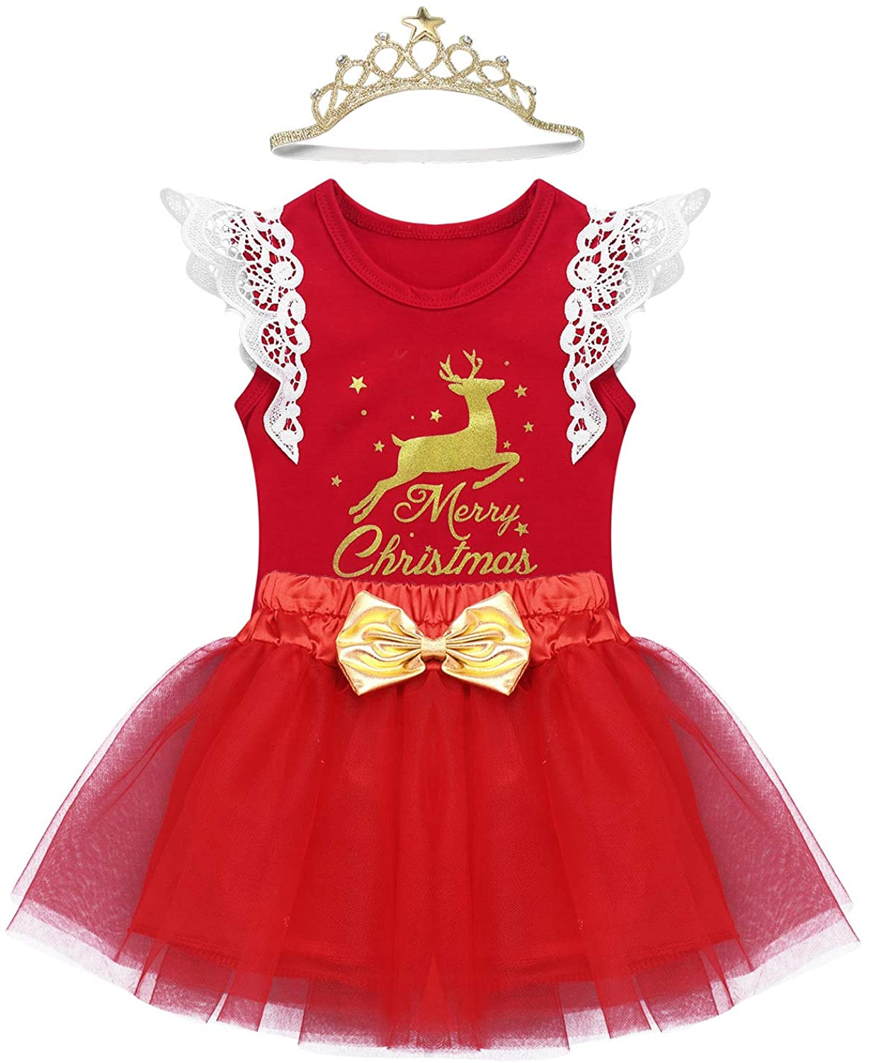 Freebily Baby Girls Christmas Outfits Clothes Newborn Toddlers 1st Xmas Deer Merry Christmas Romper with Tutu Skirt Set