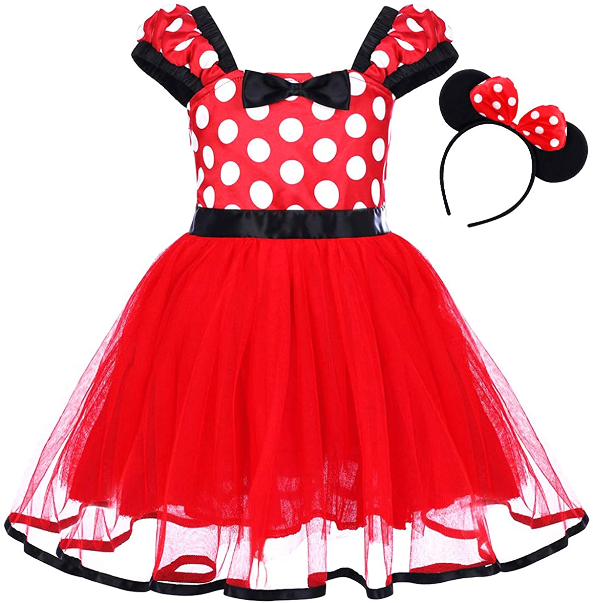 GREAMBABY Polka Dots Princess Halloween Christmas Birthday Party Costume Dress Up&Ears Headband