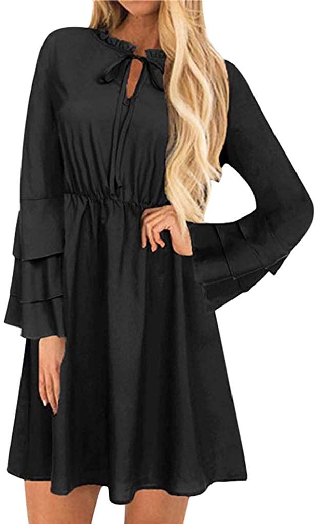 KYLEON Women's Tunic Dress Long Bell Sleeve Ruffle Swing A Line Mini Dress Sundress Causal Summer Beach T-Shirt Dresses