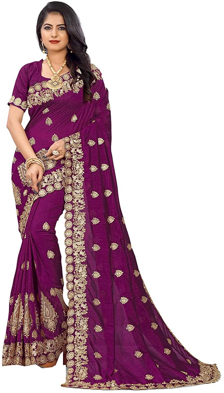 Indian Saree for Women Ethnic Sari Wine Sari with Unstitched Blouse. ICW2841-3