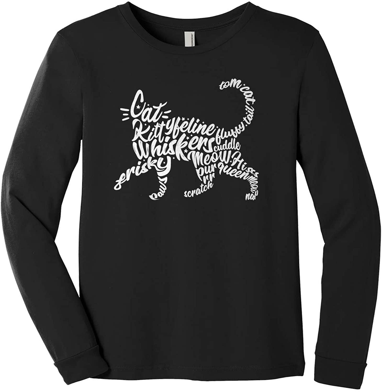 Threadrock Kids Cat Typography Youth Long Sleeve T-Shirt