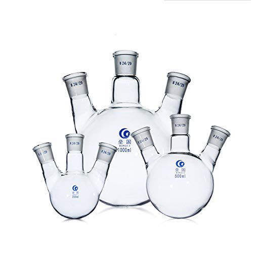 Glass 3 Neck Round Bottom Flask Boiling Flask RBF, with 24/29 Center and Side Standard Taper Outer Joint 250ml Lab Distilling Flask Heavy Wall Borosilicate Glass (250ml)