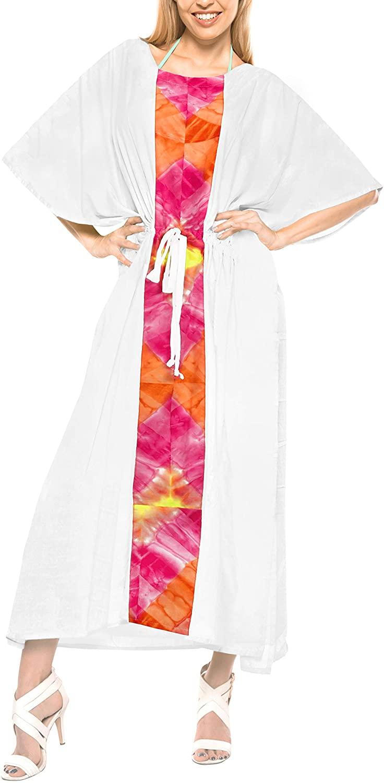 LA LEELA Women's Long Caftan Swimsuit Cover Ups Night Casual Dress Drawstring A