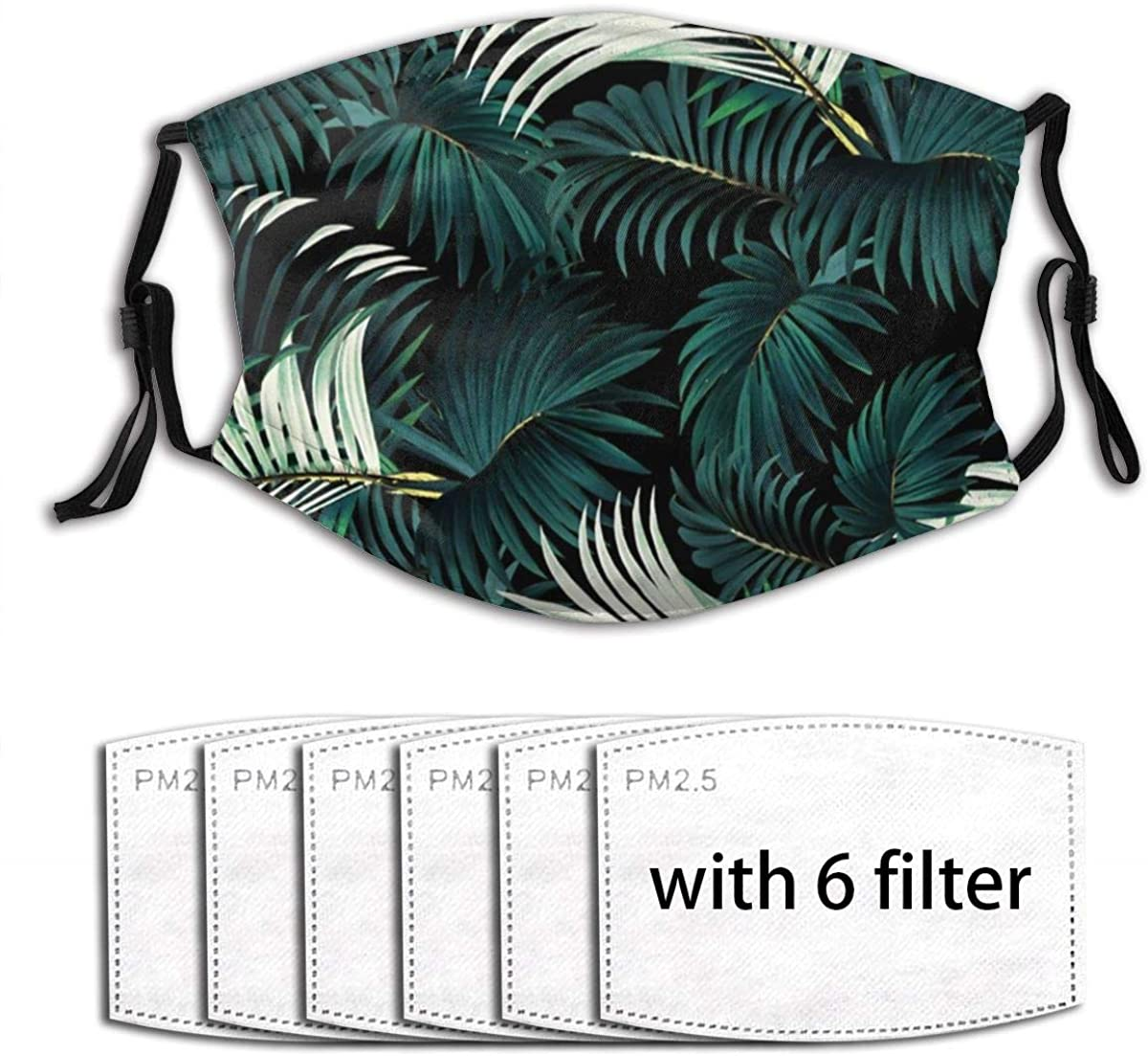 UV Protection Breathable Mouth Guard Activated Carbon 6 Filters, Tropical Jungle Dark Green Palm Leaves Monstera Leaf Dust Pollution PM2.5 Protection Cover for Garden Farmer - Adjustable Ear Loops