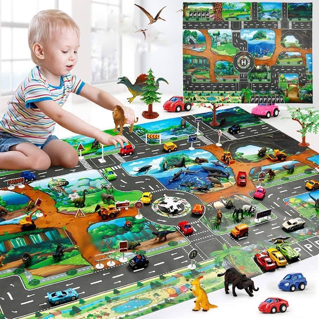 LEANO Kids 51?? x 40'' Map Taffic Animal Play Mat Road Traffic System Play Mat Rug Baby Road Carpet