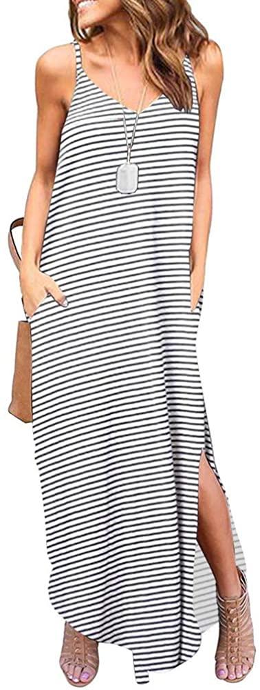 ETCYY Women's Summer Casual Stripe Sleeveless Loose Beach Maxi Dress