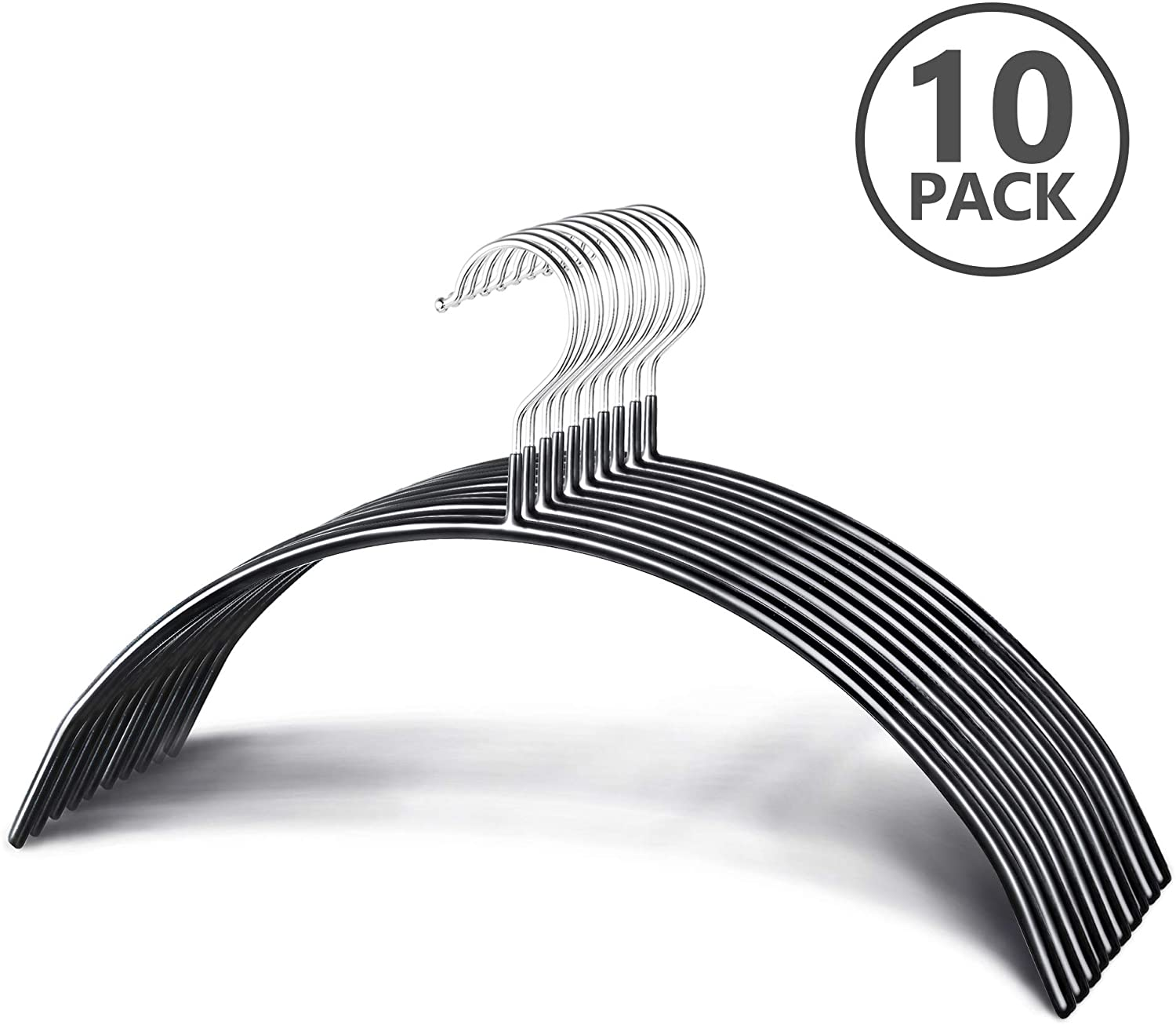 Zoe Deco Slip Reducing Contour Clothes Hangers with Grippy Coating, Sleek and Slim Arc-Shape Hangers, Bump Free Hanger Solution (Black, 16.5
