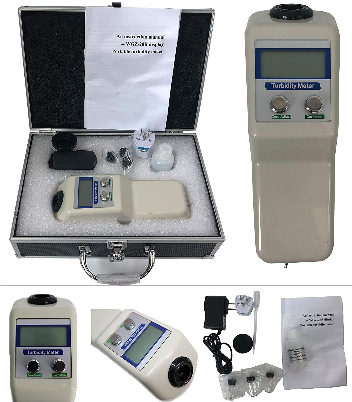 HFBTE WGZ-20B Turbidity Meter Turbidimeter Digital Water Nephelometer with 0~20NTU Measuring Range 0.01NTU Minimum Readout