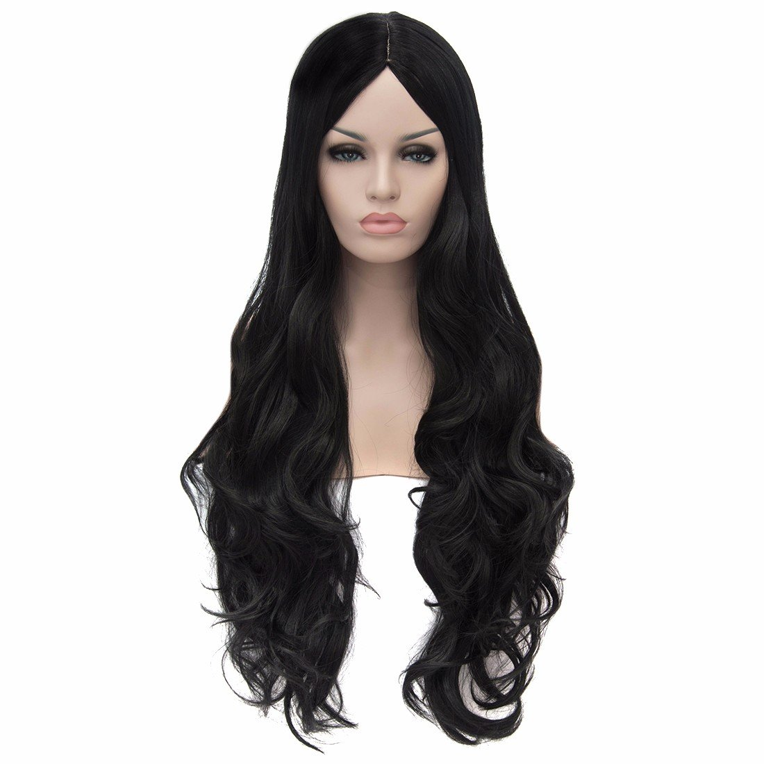 Women Black Long Wavy No Bangs Full Synthetic Hair Wigs Cosplay Party Anime Wig