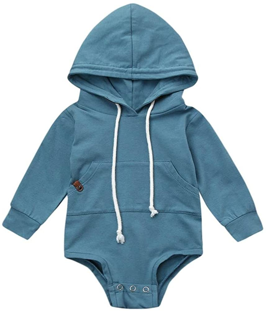 Pollyhb Baby Boys Girl Romper, Newborn Baby Long Sleeve Hooded Jumpsuit Tops Clothes
