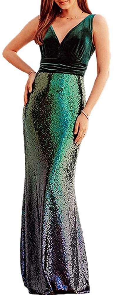 BOMBAX Womens Deep V-Neck Wedding Party Dress Long Sparkly Sequin Formal Prom Gowns