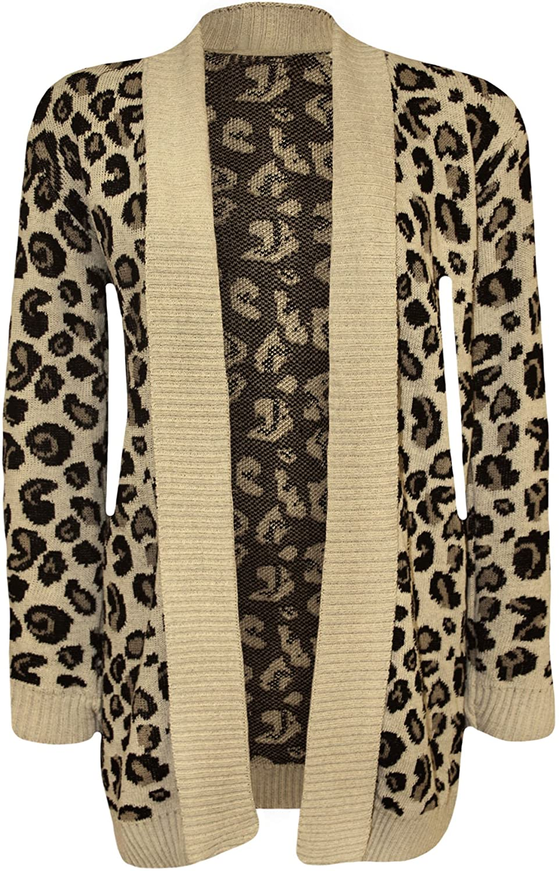 WearAll Women's Animal Print Knitted Cardigan - Stone - US 4-6 (UK 8-10)