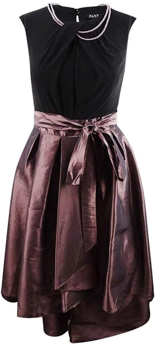 SLNY Women's Plus Size Metallic Colorblock Pleated Party Dress Pink Size 16W