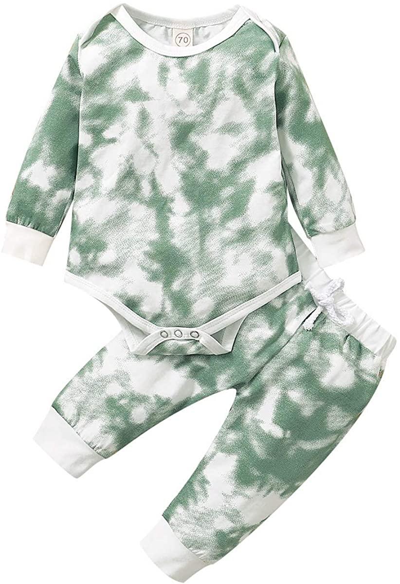 Baby Unisex Clothes Tie Dye Pajamas Baby Boy Girl Long Sleeve Romper Bodysuit Tops Pants 2PCS Outfit Set